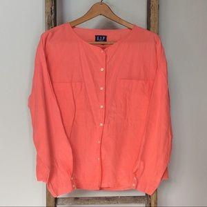 Gap Linen Boxy Lagenlook Button Up Shirt